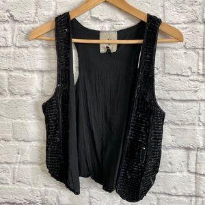 ONE TEASPOON Black Sequin Waistcoat Vest